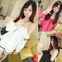 New Fashion Womens Clothing Lady Long Sleeve Off Shoulder Sexy Casual Blouse Tops 3 Color Size M Free Shipping 0741