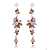 Derongems_18K Real Gold Plated Flower Stud Earring_AAA Cubic Zirconia Earrings_Elegant Ladies Style_Manufacturer Directly Sale