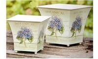 Free Shipping European Style vintage garden flower pot SET with hydrangea pattern, quadrate iron flowerpot,1 set contains 2 pots