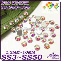 2028 Super Shiny CRYSTAL AB Color Non Hotfix Flatback Crystal Rhinestones SS3 SS4 SS5 SS6 SS8 SS10 SS12 SS16 SS20 SS50