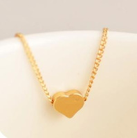 Mini Order USD15 (mix order) sweet and lovely christmas shiny gold tiny heart necklace UN028