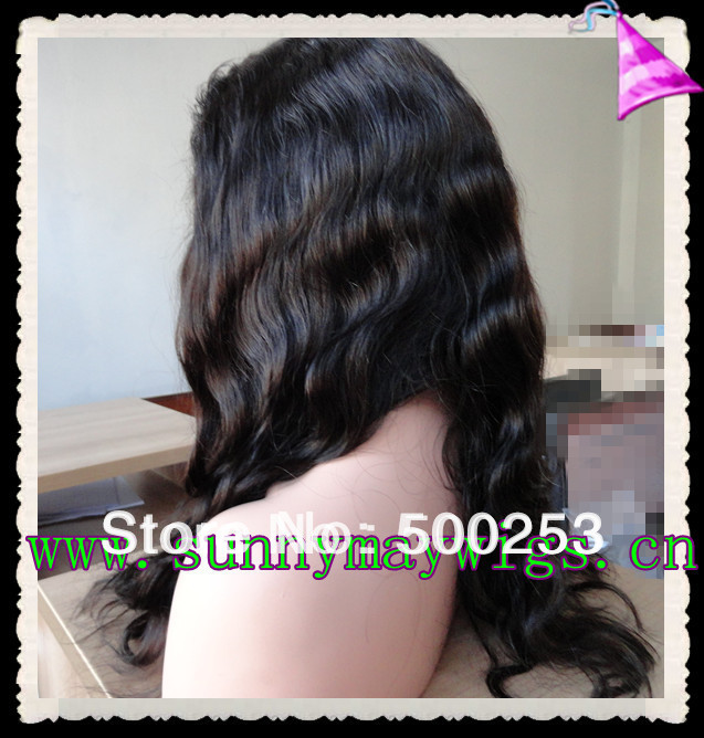 Factory price Top grade #1b body wave Indian remy hair full lace wigs without baby hair stock(WJJ-921237)(China (Mainland))