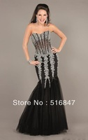 2014 New Sexy Black Beaded Mermaid/Trumpet Party Prom Dresses Evening Dresses Custom Size Free Shipping