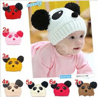 2014 NEW Panda shaped Lovely Boy girl Hats,winter baby hat,Knitted caps children Keep warm hat
