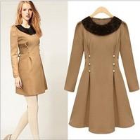 Women Dasual Dress Free Shipping Wholesale 2014 Winter Fashion Fur collar Beading Slim Woolen Stretch Long Sleeve Dress JB121396