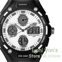 2014 OHSEN  Fashion Sport  Watch White Dial Men Quartz Wristwatch Dive Watches  HK or HK Post Free Ship