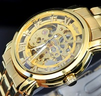 Hot! Men's golden Steel Luxury AUTOMATIC Watch Gold Skeleton Mechanical wristwatch withfree box+free shipping