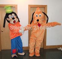 Wholesale Adult Size Plush Goofy Dog and Pluto Dog Mascot Costumes Cosplay Cartoon Dress USPS Free Shipping