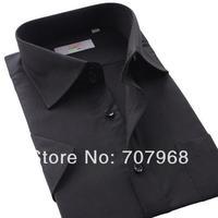 Men's business casual summer wear short-sleeved shirt pure color men black shirt cotton short sleeve shirts free shipping