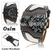 Oulm 1220 Multi-Function Dual Movt Leather Wrist Watch with Black Quartz Dial for Male