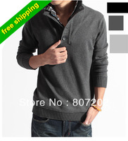 NEW winter warm high collar sweater men outerwear faux two piece men's sweater clothing crochet knitted pullover man sweaters