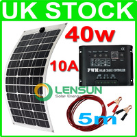 40W Flexible Mono solar panel kit, 10A regulator/controller,5m cable, complete kit,UK STOCK,NO custom tax,WHOLESALE