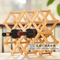 DIY Home Solid Wood Folding Wine Rack 10 Bottle Creative Folding Wine Holder Shelf Free Shipping