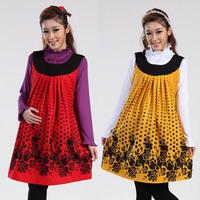 Dot Flower Printing Maternity Dress Brand Free Shipping 2014 Fashion Spring Autumn Winter Cute Tank Dress Pregnant Women Clothes