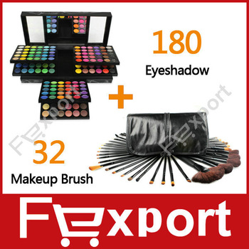 (Mix Sales) 32 Pcs Makeup Make Up Brushes Set +180 Colors Eye Shadow  Palette