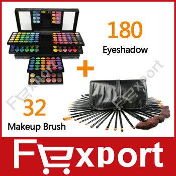 (Mix Sales) 32 Pcs Makeup Make Up Brushes Set +180 Colors Eye Shadow  Palette