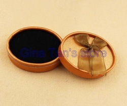 Freely Shipping(20 pcs/lot) Elliptical Shape 3 1/5&quot; Width Champagne Color Jewelry Set Gift Box(China (Mainland))