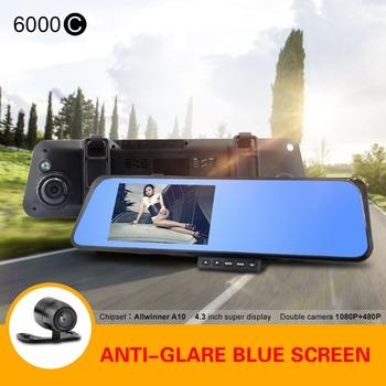 6000C Car Mirror Camera HD 720P Night Vision Car DVR Allwinner F20 with G-sensor Motion Detection Rearview Camera Recorder