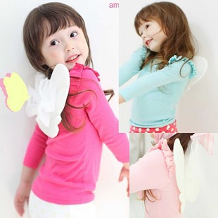 Fashion winter warm unwear sweet Angel Wings L-T-shrit cotton girl kids child outwear clothes Christmas gift(China (Mainland))