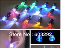 2012 new style  Green Light-Up LED CZ Stud Earrings Lighting earrings shine earring E-0001