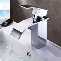Pro Bathroom Surface Mount Single Hole Chrome Finish Waterfall L-103 Tap Mixer Faucet