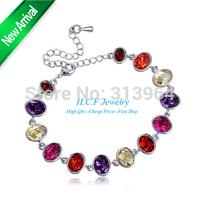 2015 New Christmas GIfts Jewelry South Korea Jewelry wholesale woman Topic Multicolor Austrian Femele crystal Bracelet