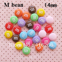 Free shipping!Hot selling  mixed color 55pcs/lot 14mmkawaii resin M bean cabochons DIY phone case decoration