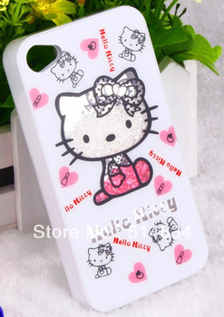 2013 new arrival bling cute hello kity depender case for iphone 4/4s,waterproof mobil cover, phone accessory, free shipping