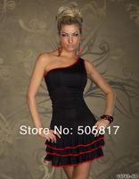 No profit 2 colors Pretty Women One Shoulder Sheath Mini Dress Sexy Ladies Night Club Wear Party Dresses Free Shipping MN94