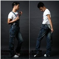 Free shipping 2013 new men's denim overalls  trousers suspenders, extra large size pants jeans -136