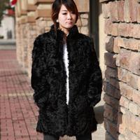 2014 100% real natural whole berber fleece women's fur coat overcoat full leather lamb wool stand collar slim fur coat  WTP1