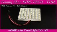 10 PCS/LOT 3528 48 SMD12V Car LED Panel Light White Color LED Interior Lamp Light Free Shipping