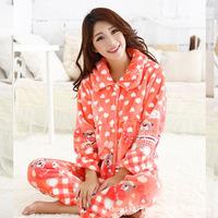 Maternity pajama pants adjustable winter bear set lounge autumn long-sleeve thickening female coral fleece sleepwear 0091601