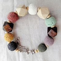 2014 Fashion Natural stone Jewelry Volcano stone Bracelet Women  Wood Bead Bracelets Wholesale Promotion