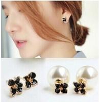 flowers double-sided pearl earrings E62