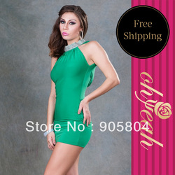 New arrivals hot sale free shipping night wear 4 different colorful dresses sequined turtleneck dress R7451(China (Mainland))