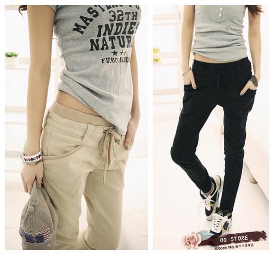 Spedizione gratuita stile coreano 2014 delle donne grande tasca vita casual pantaloni harem pants pantaloni più dimensioni 3 colori s~xxl dimensioni