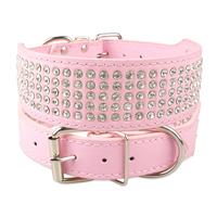 5 Rows Full Rhinestone Pink Leather Dog Collars Diamante Jeweled Pet Collars