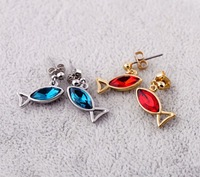 New Arrival Wholesale Price Fish Shape Drop Earrings 14K Gold Plated Diamante  ZB1001