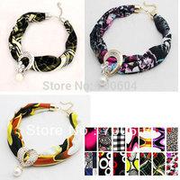 2014 new style, punk choker spring/autumn alloy pendant cloth wedding fabric rhinestone costume necklace,direct factory supply