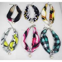 2014 new style punk choker autumn alloy pendant cloth wedding fabric rhinestone costume necklace,direct factory supply