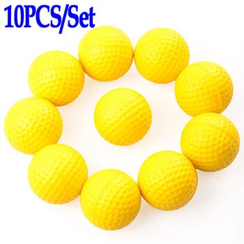 10pcs / Set Yellow Soft Elastic Indoor Practice PU Golf Balls Training Aid Accessories Free Shipping Wholesale