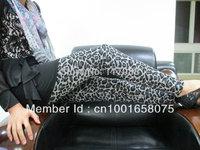 Free Shipping ML7561 Hot Sale Slim Fit Pants Black Mixed White Leopard Winter Leggings Warm Double Layers funkey legging