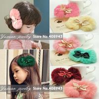 Free Shipping New cute 11color Warm soft true rabbit fur bow hair clips ribbon hairpin Baby/Woman/girl hair accessories FJ7704