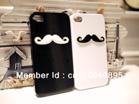 2pcs/lot New Hot LEON Chaplin Sexy 3D Beard Mustache Hard Back Case Cover For  iPhone 4 4S