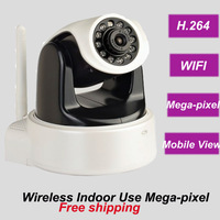 Free shipping Indoor wireless mega-pixel WIFI IP PTZ IR infrared night vision CCTV security  dome camera system install SD card