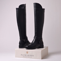 New 2014 Women Genuine Leather Boots Fashion Winter Boots For Woman Shoes Motorcycle Boots Brand Black Knee High Boots EUR34-41