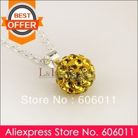 Min 10 piece/lot New Style Disco Ball Crystal Golden Shamballa Pendant P019, Free Shipping
