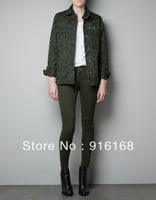 2012 Free shipping same famous brand fashion camo flocking overcoat with leopard head pattern frock windbreaker for women