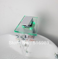 new chrome brass glass mixer tap faucet  Single Handle 4 bathroom basin sink   CT22